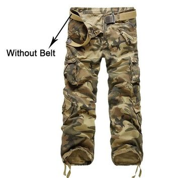 Facecozy Men Military Tactical Pants Multi-pocket Field Training Camouflage Trousers Camping Riding Hiking Outdoor Cargo Pants