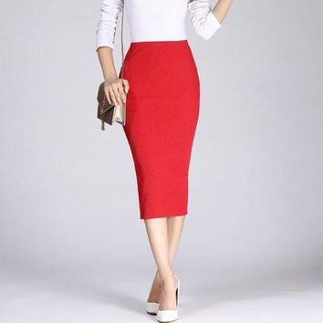 CREYONHC 2017 Spring Autumn Long Pencil Skirts Women Sexy Slim Package Hip Maxi Skirt Lady Winter Sexy Chic Wool Rib Knit midi Skirt Saia
