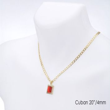 "Jewelry Kay style Men's CZ Square Red Ruby Pendant 20"" / 22"" Cuban Chain Necklace Set CP 223 G"