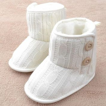 Button New Beauty Cute Toddler Booties Soft Sole Baby Boots Crib Warm Infant Shoes = 1
