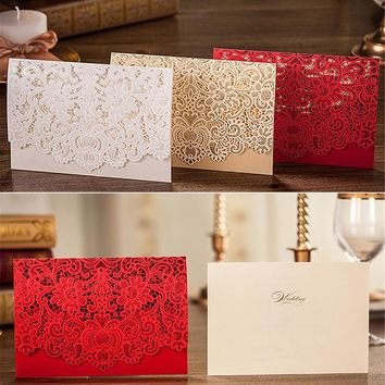 1pcs Sample Gold Red White Laser Cut Luxury Flora Wedding Invitations Card