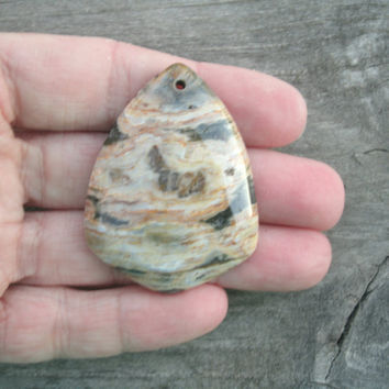 Ocean Jasper Polished Pendant Bead with Quartz inclusions, multi colored,  polished and drilled, DIY jewelry supply stones, crystal healing