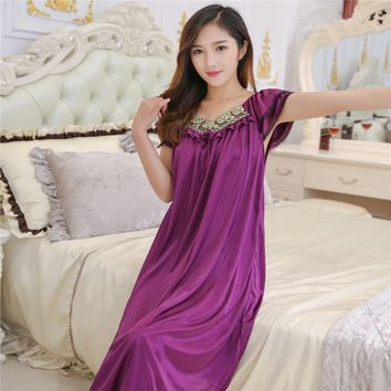 Lace Nightgowns summer ice silk nightgown Ms. MM Skirt fat thin clothes sexy sleepwear free shipping