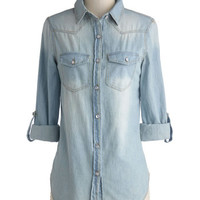 ModCloth Rustic Mid-length Long Sleeve Whidbey Island Top in Daybreak