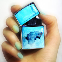lighter with windproof electronic quartz ignition  /  fluid STYLE flip top lighter / Game of Thrones lighter / Personalized Lighter