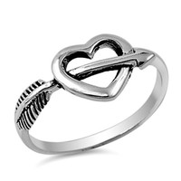 .925 Sterling Silver Heart with Arrow Ring Ladies Size 4-10