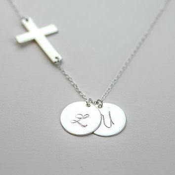 Cross initial necklace. Personalized Monogramming Charm Necklace . All Sterling Silver Initial Celebrity Inspired Necklace. Custom Letter.