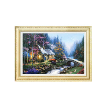 5d Diamond Painting Full-jewelled Living Room Landscape Painting Dreamlike House Diamond Stitch Diamond Paste Cross Stitch