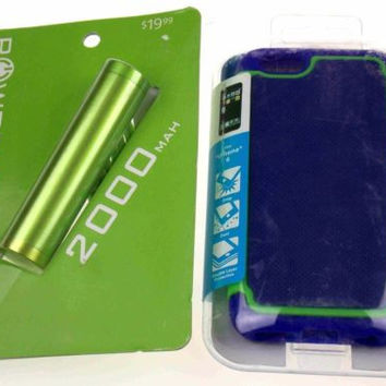 Blue Green Cell Phone Case iPhone 6 Textured 2000 MAH External Battery Charger