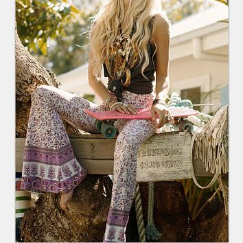 Newest Fashion Vtg Hippie BOHO Tie Dye Gypsy Bell Bottom Loose Wide Leg Flared Long Pants for women Ladies trousers