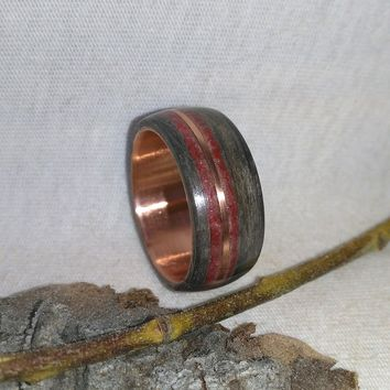 Ebony Copper and Red Stone Bentwood Ring