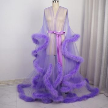 Lavender Feather Sheer Bridal Robe Tulle Long Sleeve Scarf Maternity Shooting Birthday Party Feather