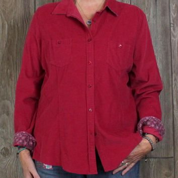 New LL Bean Blouse XL size  Rasberry Red Fine Corduroy Womens Top Casual Cotton