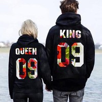 king and queen hoodies S-XL Velvet Couples Matching Letters Print Men Women Lovers Hoodies Gray Black Sweatshirt Pullovers
