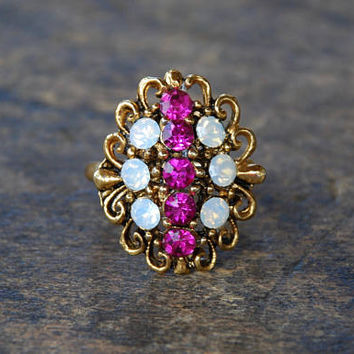 Vintage Uncas Cocktail Ring Fucsia Pink Moonstone Rhinestones Antique Gold Tone Filigree Adjustable 1960's // Vintage Costume Jewelry