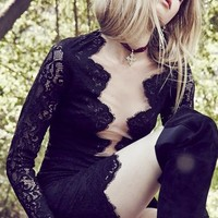 For Love & Lemons Noir Mini in Black