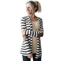 Casual Cardigans Shawl Collar Striped Long Sleeve Elbow Patchwork Cardigan Women Jackets Cotton Thin Open Stich Womens Coat 20