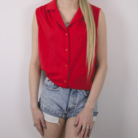 Vintage 70s Sears Button Up Sleeveless Blouse