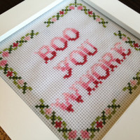"PATTERN Mean Girls Cross Stitch ""Boo You Whore"""