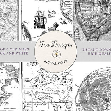 Pack of 6 Black and White Ancient Drawn Maps - Digital Vintage Maps - Ancient maps - Pirate Maps - Castle Maps - Instant Download