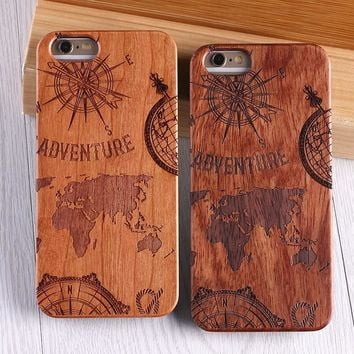 For iPhone 5 6 6Plus 7 7Plus World Map Creative Wood Case For SAMSUNG Galaxy S6 S7 Edge S8 plus