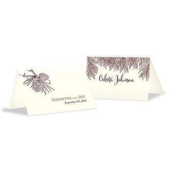 Evergreen Place Card With Fold Berry (Pack of 1)