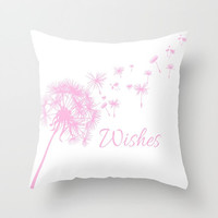 Baby Pink Dandelion Throw Pillow or Cover