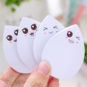 1pcs Cute Water Drop Face Expression Self Adhesive Memo Pad Sticky Notes Sticker Label Notepad School Office Stationery Emoji