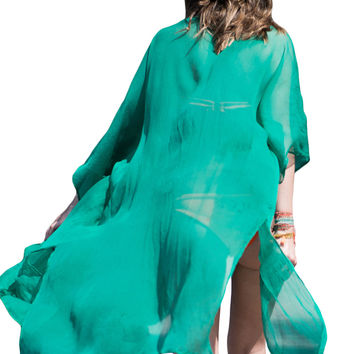 Green Crinkle Sheer Chiffon Long Beach Kaftan