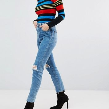 ASOS FARLEIGH High Waist Slim Mom Jeans in Pine Mottled Wash with Busts at asos.com