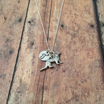 Ferret initial necklace - ferret charm, silver ferret necklace, hand stamped jewelry, initial necklace