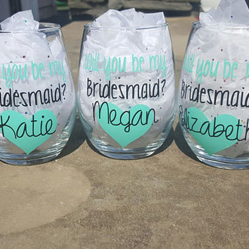 Will You Be My Bridesmaid Wine Glass Gift, Bridesmaid Wine Glass, Bridesmaid Wine Glasses, Bridesmaid Gift, Maid Of Honor