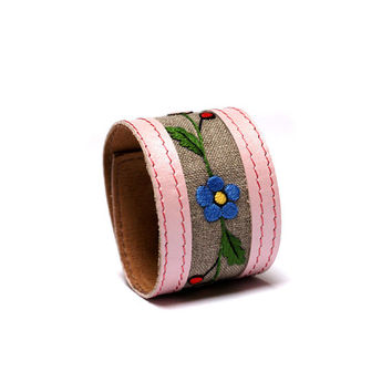 Unique bracelet with folk hand embroidery / Leather Accessories from BRANDIA / Leather Pink