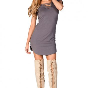 Livia Gray Short Sleeve Tunic Sexy Lace Up T Shirt Dress