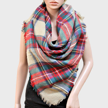 Plaid Check Knit Fringed Trim Blanket Scarf - Red & Camel
