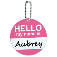 Aubrey Hello My Name Is Round ID Card Luggage Tag