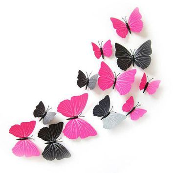 PEAP78W New Home Room Curtain Decoration 3D Butterfly Art Decal Wall Stickers 12pcs