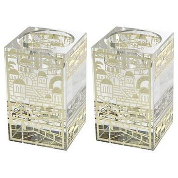 Crystal Candlesticks 8*5cm- With Laser Cut Golden Metal Plaque