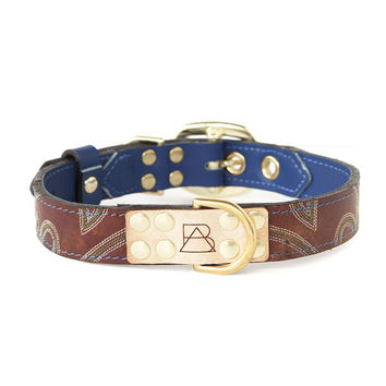 Royal Blue Dog Collar With Maroon Leather + Green And White Stitching