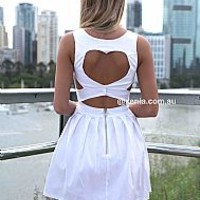 HEART CUT OUT DRESS , DRESSES, TOPS, BOTTOMS, JACKETS & JUMPERS, ACCESSORIES, 50% OFF SALE, PRE ORDER, NEW ARRIVALS, PLAYSUIT, COLOUR, GIFT VOUCHER,,White,CUT OUT,BACKLESS Australia, Queensland, Brisbane