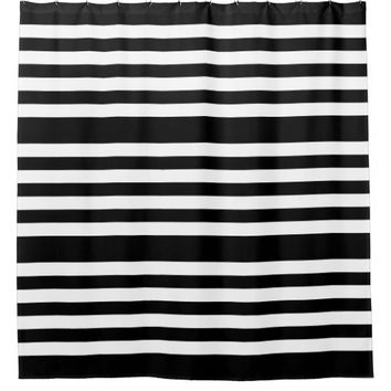 Black and White Stripes Pattern Shower Curtain