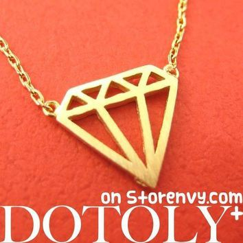 Diamond Outline Cut Out Pendant Necklace in Gold | DOTOLY