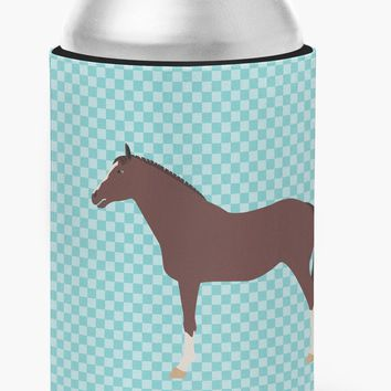 English Thoroughbred Horse Blue Check Can or Bottle Hugger BB8087CC