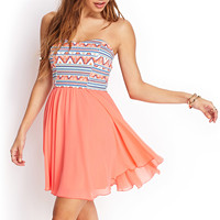 Tribal Print Strapless Dress