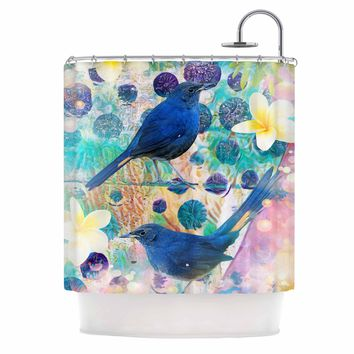 "AlyZen Moonshadow ""2 Blue Birds"" Blue Multicolor Digital Shower Curtain"
