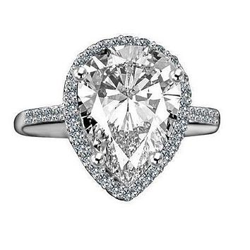 4 CT. Intensely Radiant Classic Pear Center Diamond Veneer Cubic Zirconia with Halo Settings Ring, Sterling Silver Platinum Electroplate. 635R71421