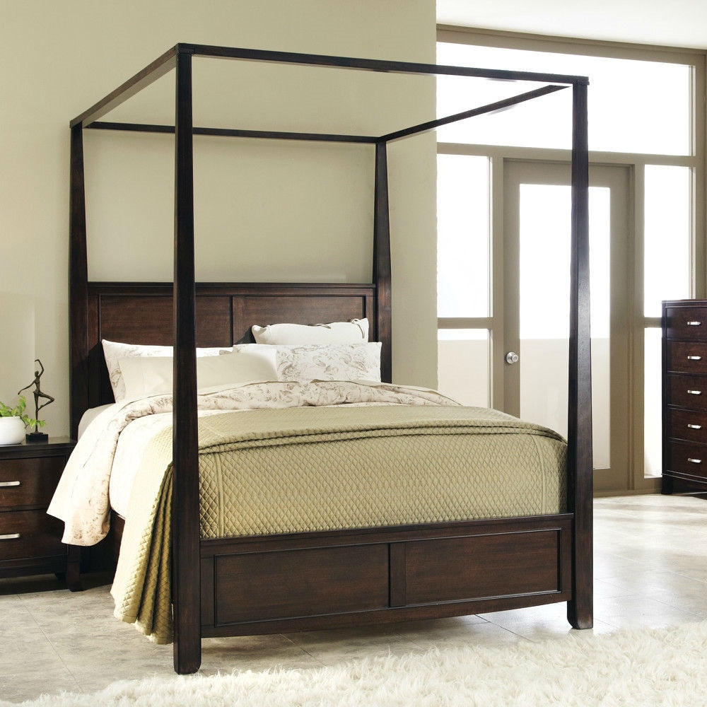 Wood canopy beds king size
