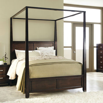 Queen Size Sturdy Wooden Frame Canopy Bed in Antique Brown Finish