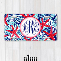 Personalized Monogram License Plate. Custom License Plate. Front License Plate. She She Shells Lilly Pulitzer inspired