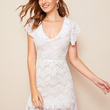 Ruffle Hem Belted Lace Dress